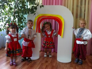 children wearing national clothes