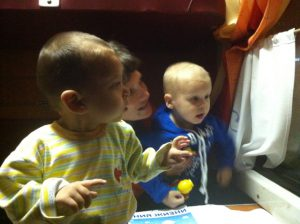 children in the train