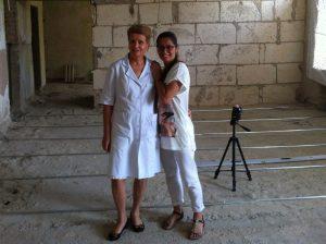Olga and Vika on building site